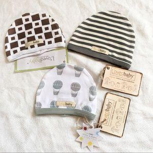 [L'OVEDBABY] NWT Organic cotton baby beanie bundle